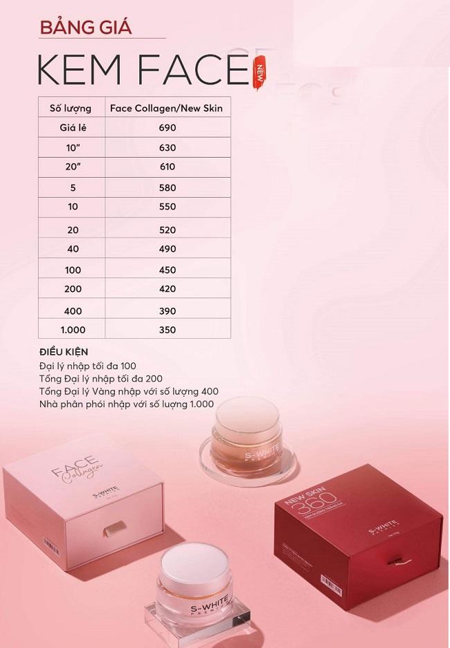 Bảng giá sỉ kem face collagen và kem newskin 360