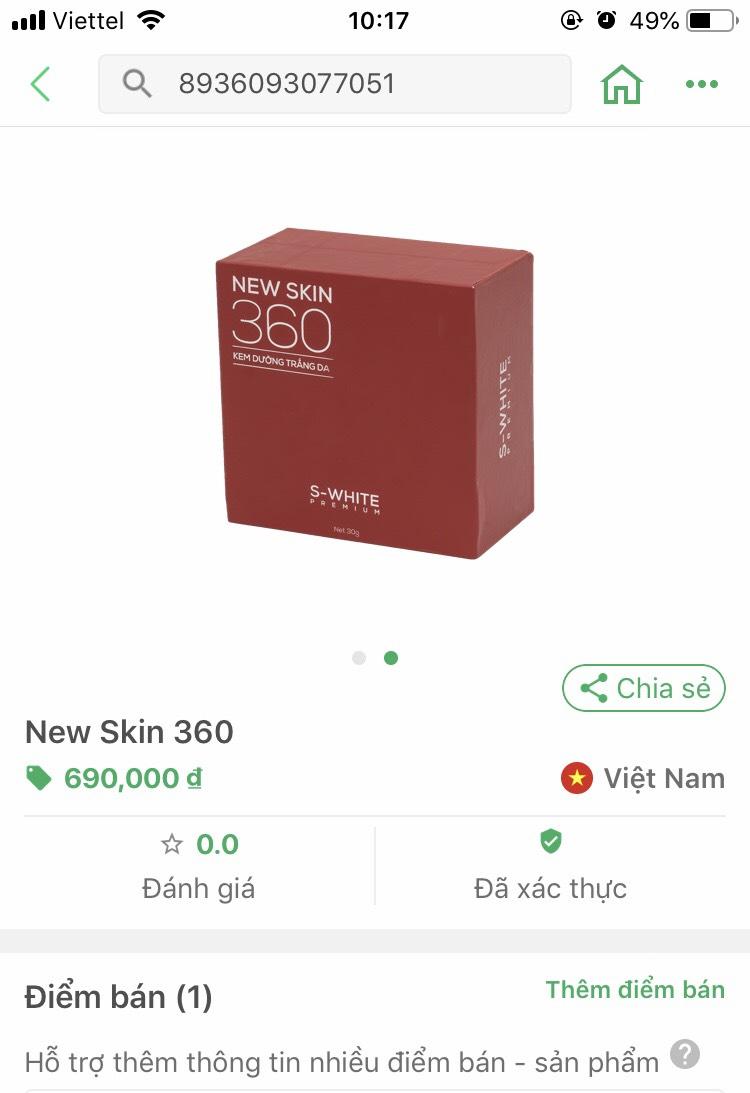 Mã Vạch Kem Face New Skin 360 Swhite