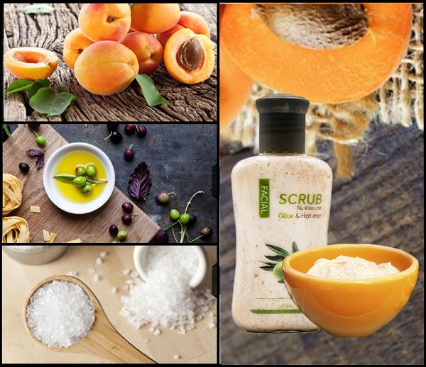 Muối tẩy tế bào chết face swhite từ hạt mơ và olive